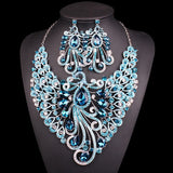 Big Crystal Bridal Jewelry Sets Wedding Party Costume Accessory Indian Necklace Earrings for bride Peacock jewellery sets Women