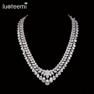 LUOTEEMI Wholesale 2016 New Luxury Sparkling Princess Clear CZ Statement Choker Necklace For Women Bridal Wedding Jewelry Set