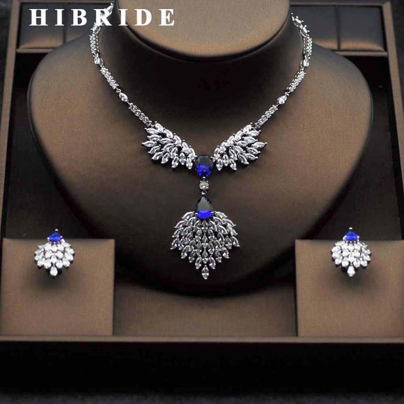 HIBRIDE Top Crystal CZ Bridal Jewelry Sets Elegant Flower Shape White Gold-Color Necklace Earring Set parure bijoux femme N-282