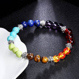 Wholesale Men Women 7 Chakra Bracelets Bangles Colors Mixed Healing Crystals Stone Chakra Pray Mala Heart Charm Bracelet Jewelry