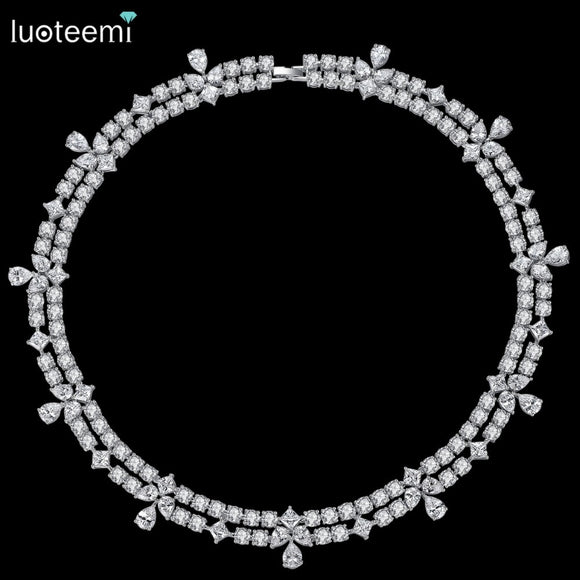 LUOTEEMI New Luxuries Delicate Wedding Jewelry Bridal Necklace Flower Round Square Waterdrop Crystal Statement Bridesmaid Choker
