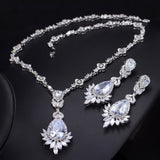 Pera Luxury Royal Marquise Cubic Zirconia Big Dangle Blue Tear Drop Necklace Set Women Wedding Banquet Jewelry Accessories J208