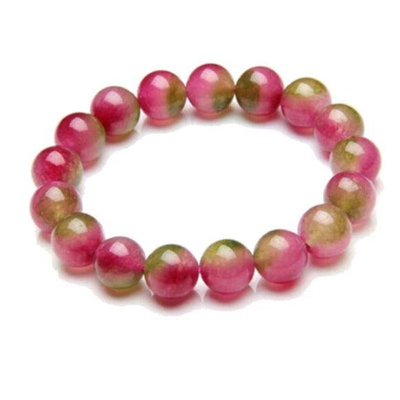 Watermelon Tourmaline Beaded Bracelet Quartz Strand Bracelet Natural Stone Jewelry For Femme Adjustable Size Red Green Color