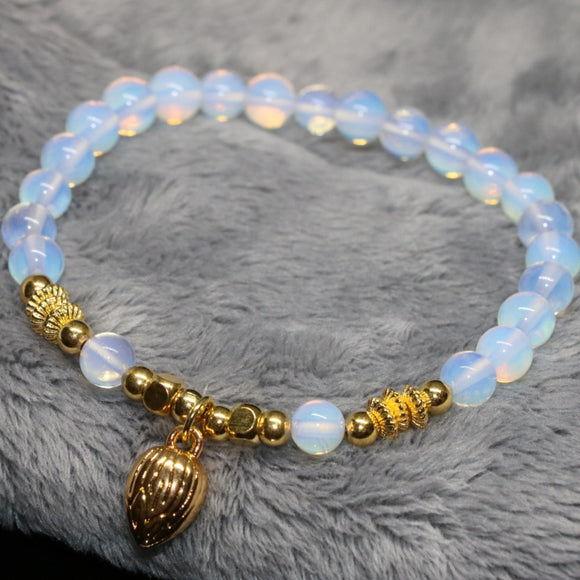Wholesale price elegant women bracelet 4 style white opal moonstone round stone beads 6mm 8mm charms diy jewelry 7.5inch B2108