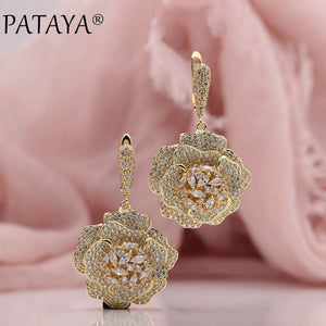 PATAYA New Trendy 585 Rose Gold Extreme Luxury Micro-wax Inlay Natural Zircon Flowers Drop Earrings Women Wedding Party Jewelry