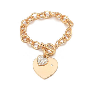 Shefly Love Heart Charm Bracelets For Women Gold Silver Color Bileklik Bracelet&Bangle Jewelry Europe American Style Jewelry