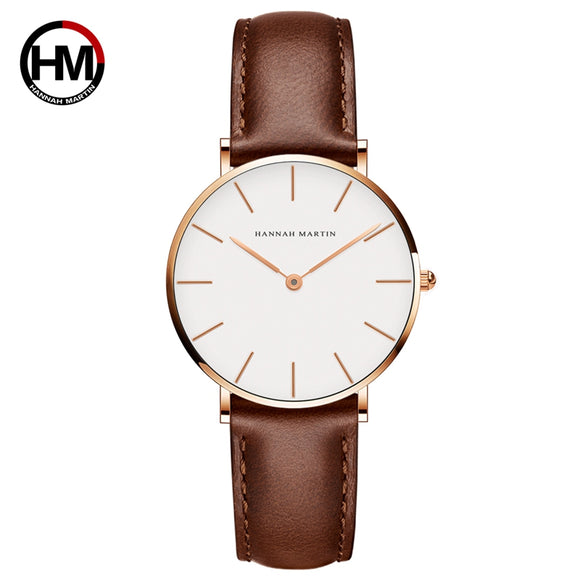 Japan Movement Brown Leather horloges vrouwen White Dial Women Top Brand Luxury Waterproof Watch relogio feminino zegarek damski