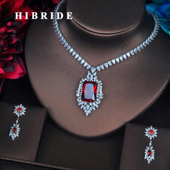 HIBRIDE Luxury Red Crystal CZ Stone Jewelry Sets For Women Bride Necklace Set Wedding  Dress Accessories Wholesale Price N-387