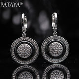 PATAYA New True White Gold Round Natural Zircon Black Ceramic Long Dangle Earrings 585 Rose Gold Women Wedding Luxury Jewelry