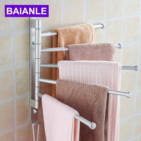 Space Aluminum Towel Bar Active Towel Rack Bathroom Hardware accessories Wall Mount Swivel 5 Arm with Hooks BAIANLE