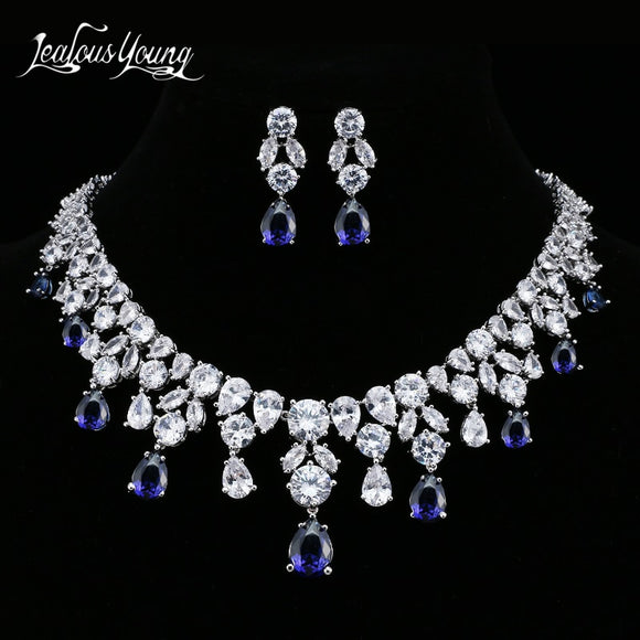 2018 Luxury AAA+ Blue CZ Stone Water Drop Bridal Jewerly Sets For Women White Gold Color Wedding Jewelry Set For Party AS031