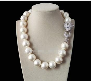 A Genuine Selling Huge 14mm Genuine White South Sea Shell Pearl Round Beads Necklace Jewelry Beads 925 silver wedding Women Gift