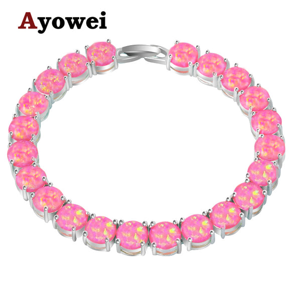Ayowei alibaba-express pink Created Fire Opal 925 Silver Stamped Charm Bracelets Women party pulseras OBS074A