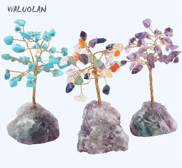 WALUOLAN 8CM Tall Crystal Lucky Money Stone Tree Figurine Ornaments