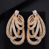GODKI Braided Twist Lines Luxury Water Drop Full Mirco Paved Cubic Zirconia Naija Wedding Earring Fashion High End Jewelry