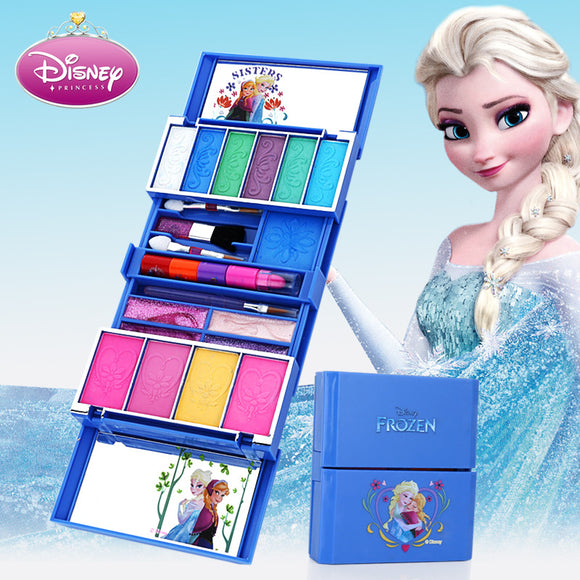 Disney Children's Cosmetics Toy Princess Makeup Box Set Frozen Girl House Toy Lip Gloss Rouge baby Christmas present
