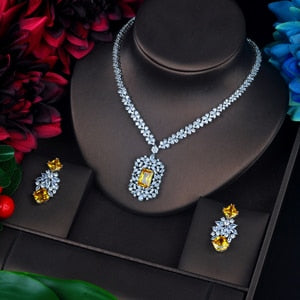 HIBRIDE Sparkling Yellow Stone Cubic Zircon Jewelry Sets Long Pendanties Drop Earring Necklace Set Dress Accessories N-639
