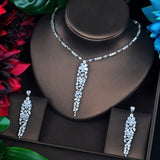 HIBRIDE Sparkling Dubai Full Cubic Zircon Jewelry Sets For Women Wedding Accessories Long Pendientes Mujer Moda N-696