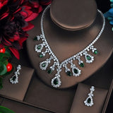 HIBRIDE High Quality White And Red Cubic Zircon Pendant Jewelry Sets White Gold-Color Female Jewelry Engagement Gifts N-215