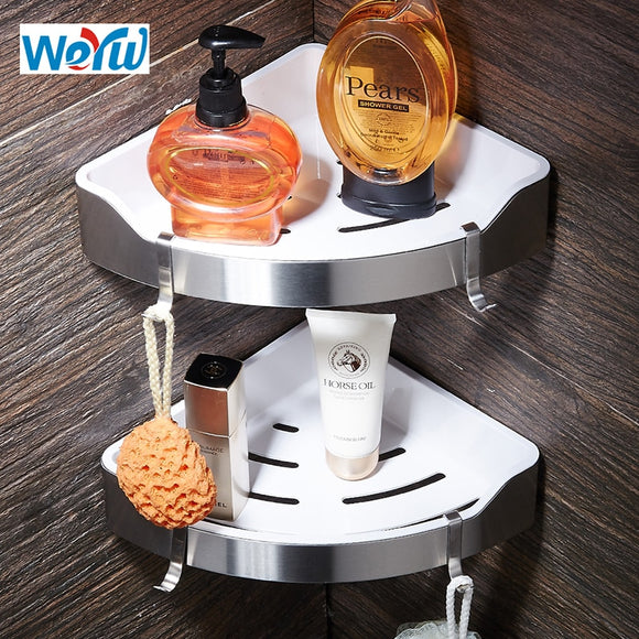 WEYUU Stainless Steel+ABS Plastic Bathroom Shelves Triangle Basket Wall Mount Shampoo Soap Cosmetic Shelves Storage Organization