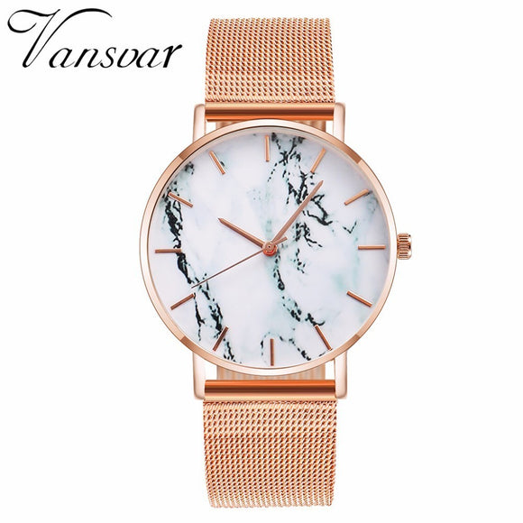 Vansvar Brand Fashion Rose Gold Mesh Creative Marble Watch Casual Women Quartz Watches Gift Clock Relogio Feminino
