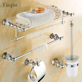 Modern Clear Crystal Bathroom Accessories Sets Silver Polished Chrome Bathroom Products Solid Brass Bathroom Hardware Sets