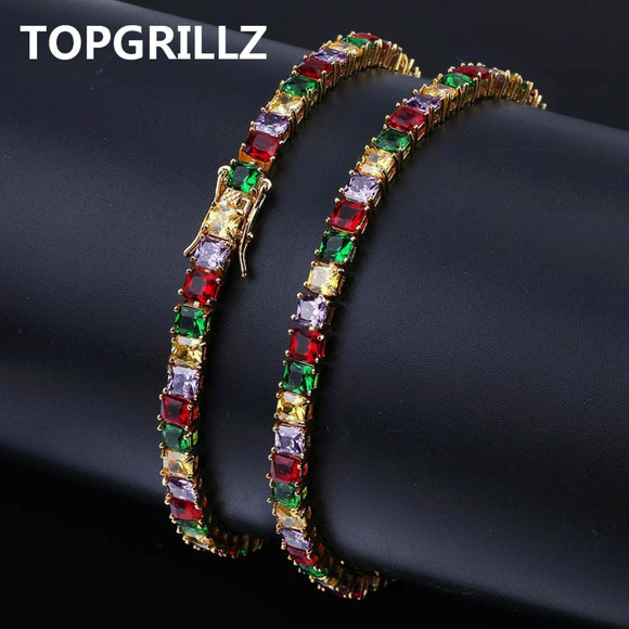 TOPGRILLZ Hip Hop Gold/Silver Color Plated Iced Out Micro Pave AAA CZ Stone Colorful Tennis Chain Bracelet For Men Women Gifts