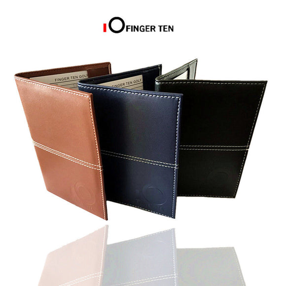 Golf Scorecard Holder with 2 Paper PU Leather Deluxe for Golfer Stat Tracker Gifts 1 Pc Black Brown Navy Blue Colors Finger Ten