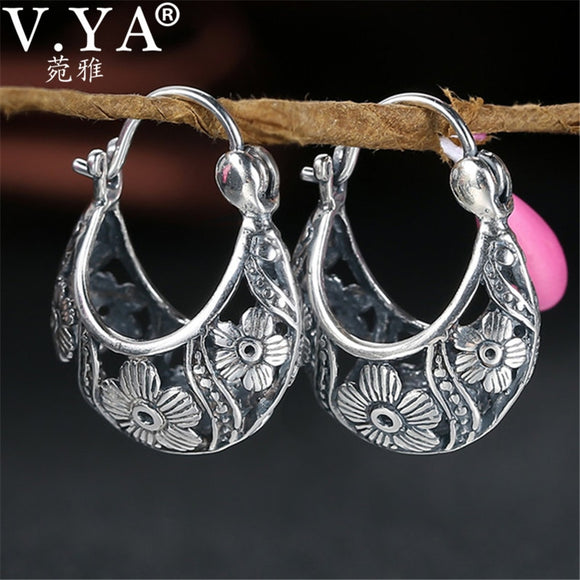 V.YA 2018 Vintage Flower Hoop Earrings 925 Sterling Silver Earrings Brincos Women Mother Day Gift Fine Jewelry