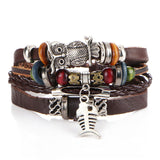 IF ME BOHO Tibet Stone Feather Multilayer Leather Bracelet Eye Fish Charms Beads Bracelets for Men Vintage Punk Wrap Wristband
