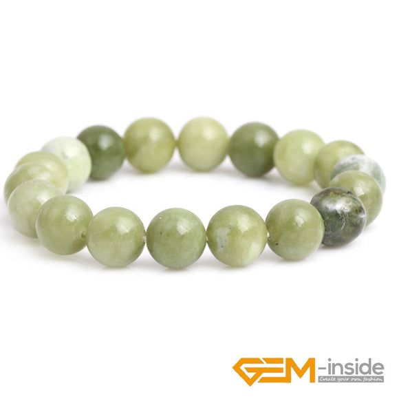 Selectable size: 8mm 10mm Handmade Natural Gem stone Green Canada Jades Round Beaded Stretch Healing Reiki Fashion Bracelet