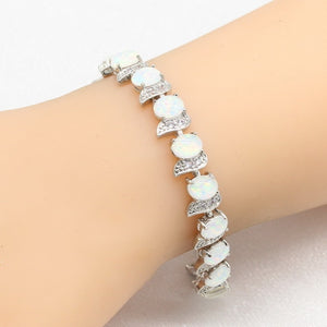 925 Silver White Opal Bracelets Jewelry For Women Party Free Gift Box  WPAITKYS