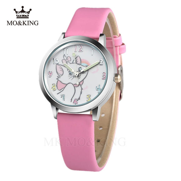 Cute Cat Cartoon Quartz Watch child leather Watches Cat Pattern Watch Women Wristwatches Clock Relogio Feminino girl Watches