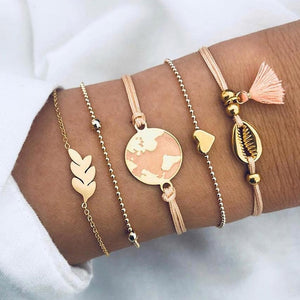 DIEZI Bohemian 2019 Shell Map Heart Charm Bracelets Bangles For Women Pink Tassel Bracelets Sets Jewelry Gifts New Vintage