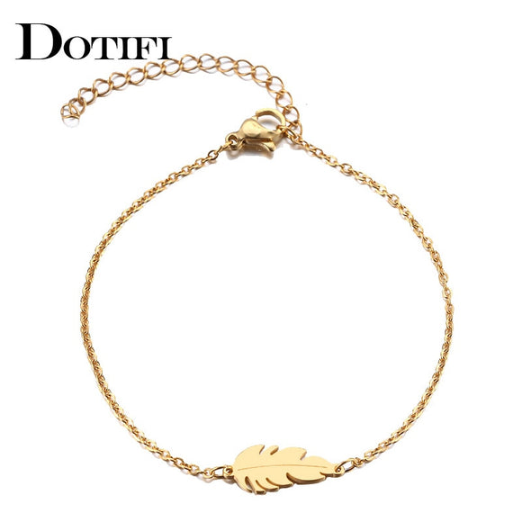 DOTIFI Stainless Steel Bracelet For Women Feather  Man Gold And Silver Color Pulseira Feminina Lover's Engagement Jewelry