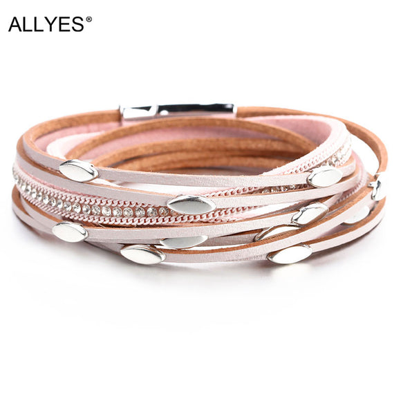 ALLYES Pink Color Leather Bracelets For Women 2019 Fashion Leaf Charm Crystal Boho Multi Layer Wrap Bracelet Femme Jewelry