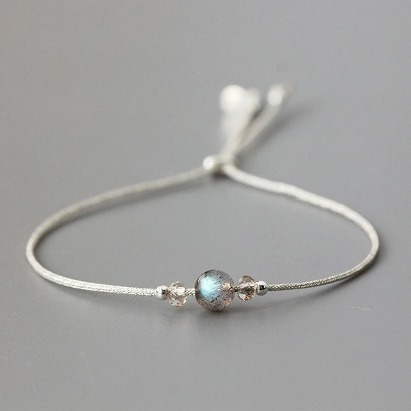 Handmade Moonstone Bracelet Thin Rope With Natural Crystal 925 Sterling Silver Beads Personalized Bracelets For Women