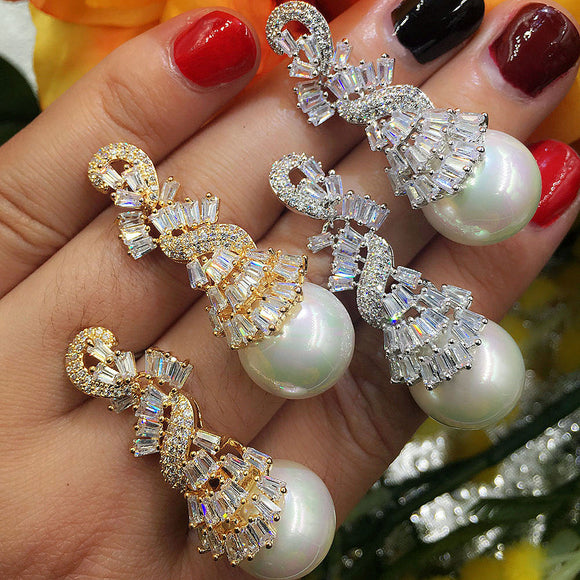 GODKI Imitation Pearl Full Cubic Zirconia CZ Engagement Wedding Party Nightclub Silver Statment Earring