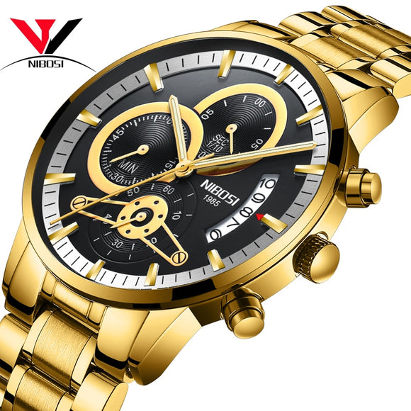 NIBOSI Relogio Masculino Watch Men Gold And Black Mens Watches Top Brand Luxury Sports Watches 2019 Reloj Hombre Waterproof