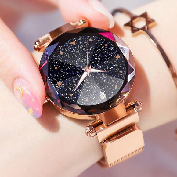 Women Watches Luxury Starry Sky Stainless Steel Mesh Magnetic Strap Ladies Watch Quartz Wrist Watch Relojes Zegarek Damski