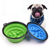 Portable Puppy Dog Bowl Pet Collapsible Slow Feeding Bowl with Hook Environment-friendly Pet Water Feeder Supplies New