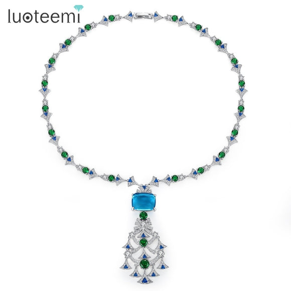 LUOTEEMI New Ethnic Chandelier Necklace for Women Luxury CZ Jewelry for Wedding Party Double Color Colar Feminino Christmas Gift