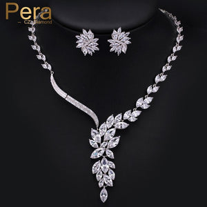 Pera Elegant Women Engagement Wedding Party Jewelry Big Marquise Shape Cubic Zirconia Drop Necklace Earrings Set For Brides J016