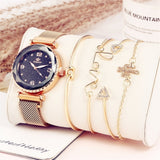 5pc/set Luxury Brand Women Watches Starry Sky Magnet Watch Buckle Fashion Casual Female Wristwatch Roman Numeral Simple Bracelet