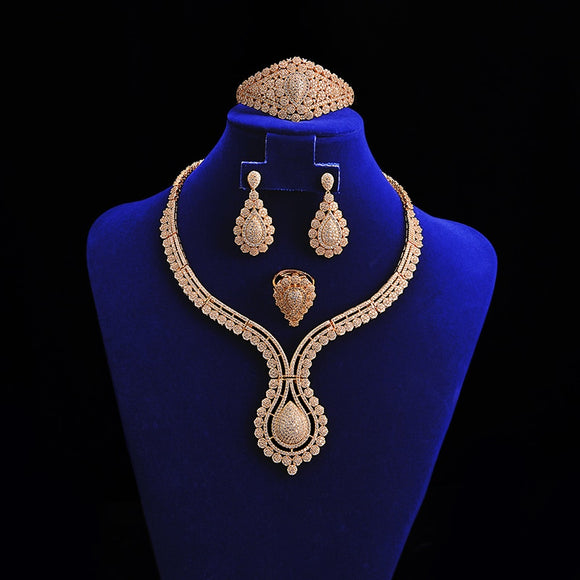 Hadiyana Elegant CZ Bride Wedding Jewelry Sets for Women Luxury Cubic Ziconia 4pc Sets 2018 Hot Bridesmaid Accessories TZ8021