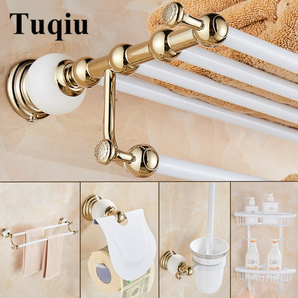 Bathroom Accessories Set New brass and Jade White Gold ,Paper Holder,Towel Bar,Soap basket,towel rack,hook bathroom Hardware set