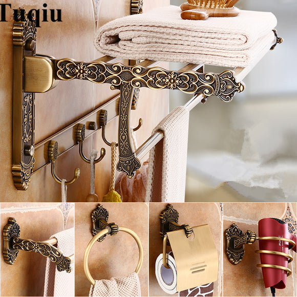 Bathroom Accessories Set Antique Bronze Carved Aluminum Bath Hardware Sets Towel Rack,Paper holder Toilet Brush Holder,hooks