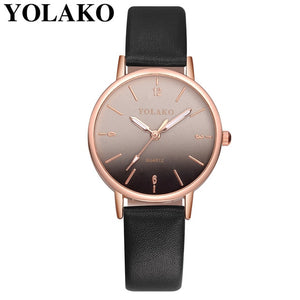YOLAKO Women's Simple Leather Quartz Watch Women Ladies Dress Watch Students Casual Wristwatch Relojes Montre Femme Gift #b