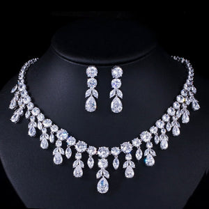 CWWZircons Luxury Dark Blue Women Wedding Party Dress Jewellery Big Dangle Drop Bridal CZ Necklace Earrings Jewelry Sets T341