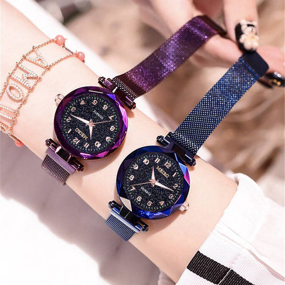 Fashion Starry Sky Flat Glass Quartz Mesh With Magnetic Buckle Ladies Watch women watch Dress watch Party decoration gifts for